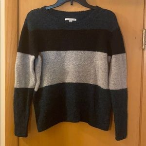 American Eagle Fuzzy Color Block Striped Sweater